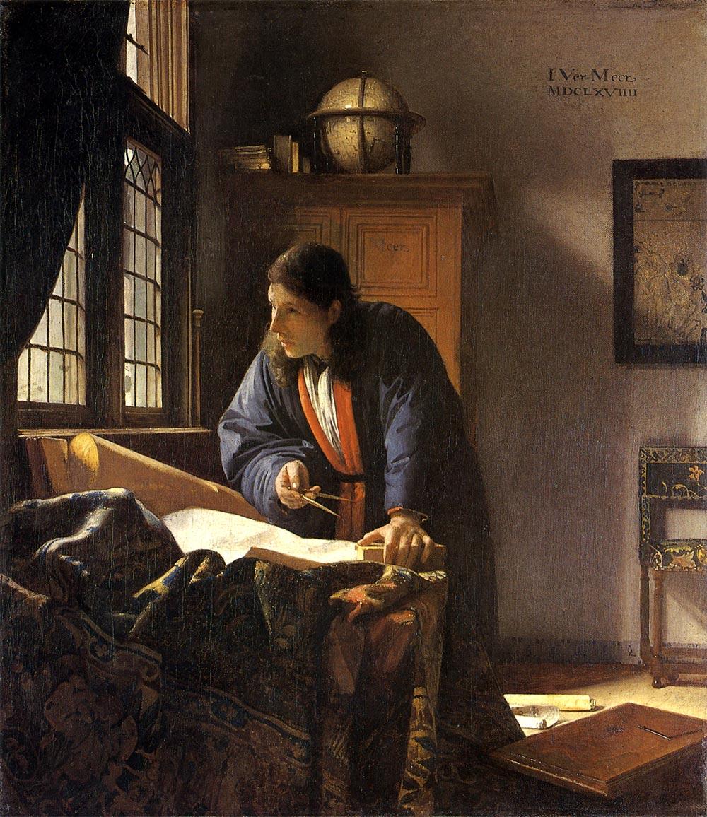 Vermeer_geograf00 今回の絵画展、フェルメールといっても 作品はこの「地理学者」